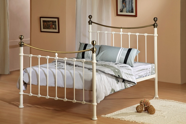 Brushed Nickel King Size Headboard: Furniture: Elizabeth Metal Bed